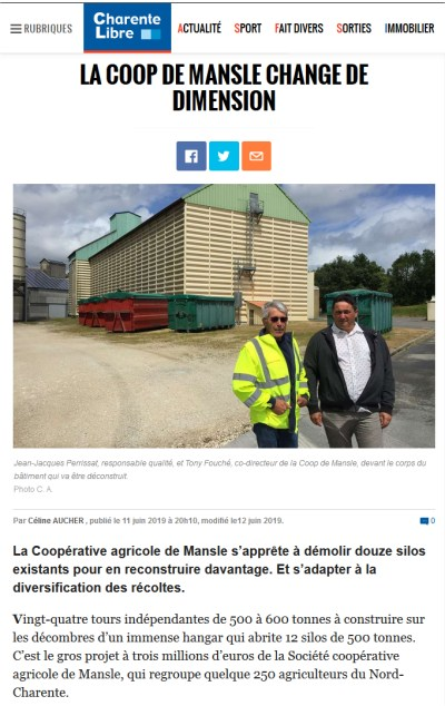 Coopérative Agricole de Mansle en Charente