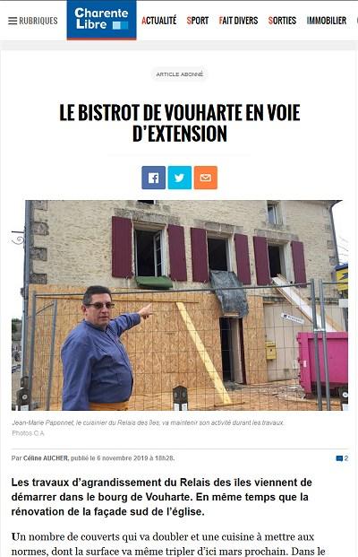 Relais des Isles à Vouharte en Charente